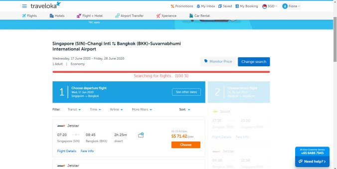 Searching for flight tickets to Bangkok..