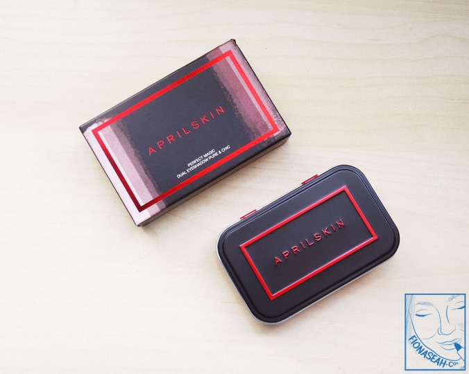 APRILSKIN Perfect Magic Dual Eyeshadow in Pure & Chic (box and case)