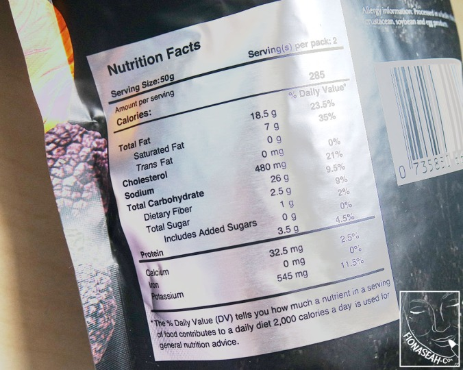 Nutrition facts of the original flavour