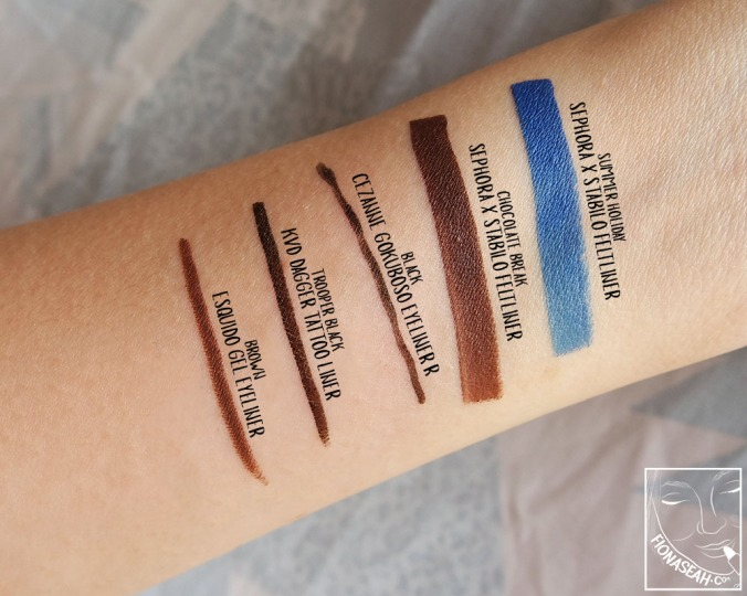 Opacity comparison with other brands of eyeliners I own