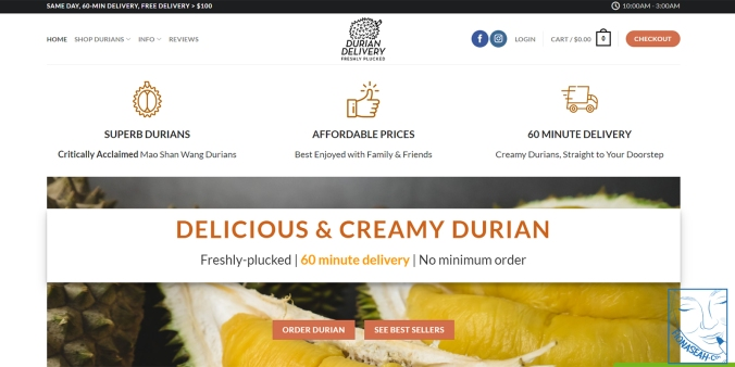 Durian Delivery website