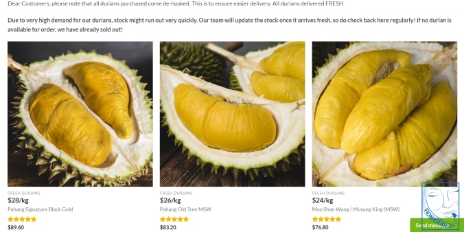 Some examples of the durian they sell..