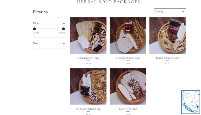Herbal soup packages - all of them only come in one size, which can feed about 2 adults