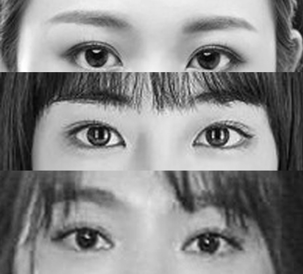 Three pair of female Asian eyes: can you tell which ethnicity they belong to just by looking at their eyes? (picture decolourised as the differing picture quality may be a distraction)