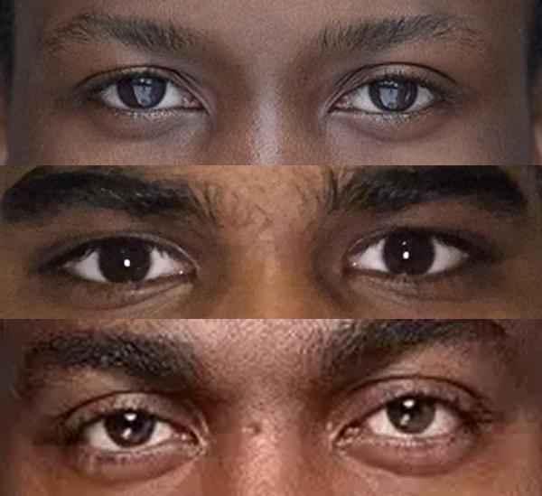 Three pair of male eyes belonging to both Asian and non-Asian of similar skin tone: can you tell which ethnicity each of them belong to?
