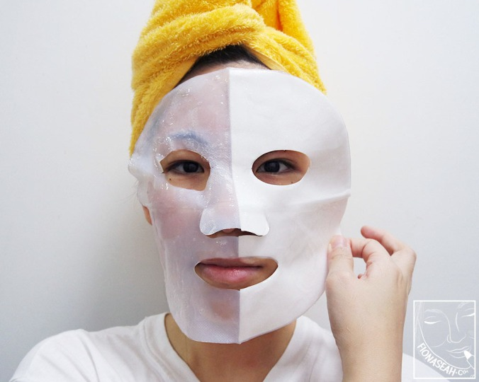 Peel off half of the backing paper before placing the mask onto the face (be sure to cleanse and exfoliate first!)