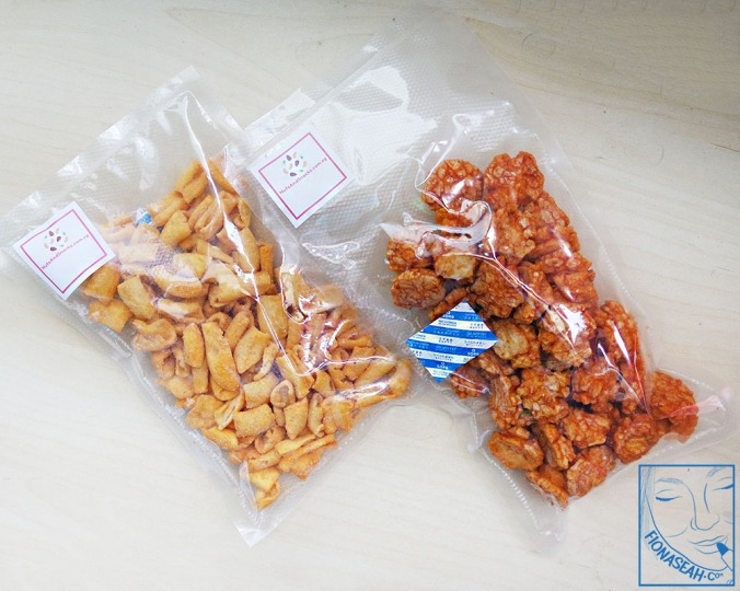 Snacks for the non-nut lovers! [100g packs] From left: BBQ Chickpea Snack (not available anymore), Chilli Fried Rice Crackers.